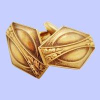 1920 Art Deco Whiteside and Blank 14 Karat Yellow Gold Cufflinks