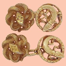 Art Nouveau 18K Yellow Gold Snake and Lizard Cufflinks