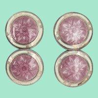 1920 Art Deco Floral Lavender Enamel Sterling Silver Cufflinks