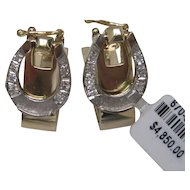 14K Yellow and White Gold Horseshoe Diamond Cufflinks