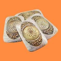1925 Art Deco 14 Karat Yellow Gold Platinum Sun Emblem Cufflinks