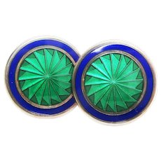 Sterling Silver Green and Blue Enamel Large Size English Cufflinks