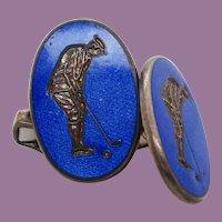 Sterling Silver Swivel Bar Blue Enamel Golfer Cufflinks