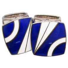 Sterling Silver Blue and White Deco Pattern Enamel English Cufflinks