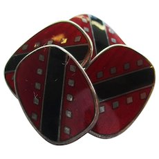 Sterling Silver Black and Red Enamel Swivel Bar Cufflinks