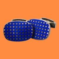 English Sterling Silver Royal Blue Enamel Swivel Bar Cufflinks