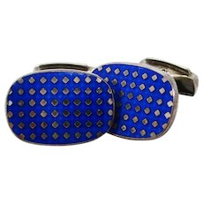 English Sterling Silver Royal Blue Enamel Swivel Bar Cufflinks