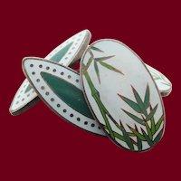 Vintage Japanese Sterling Silver Bamboo Enamel Cufflinks