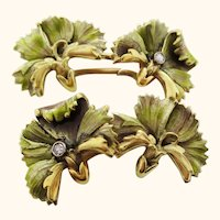 1910 Art Nouveau French 18K Yellow Gold Enameled Floral Cufflinks