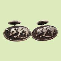 1890 Victorian Unger Brothers Sterling Silver Opossum Cufflinks