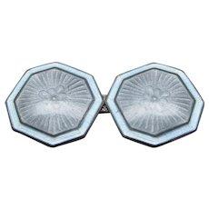 1920 Art Deco Sterling Silver Pale Blue Enamel Cufflinks