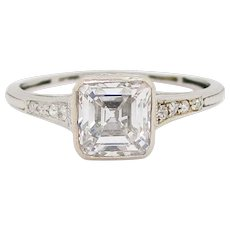 GIA Certified Asscher Cut 1925 Art Deco Platinum Diamond Engagement Ring
