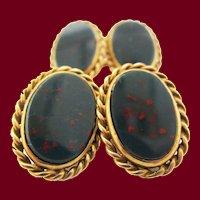 1890 Victorian 18 Karat Yellow Gold Bloodstone Cufflinks