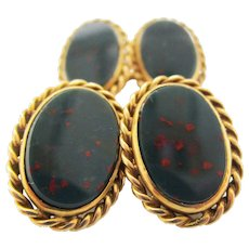 1890 Victorian 18 Karat Yellow Gold Bloodstone Cufflinks