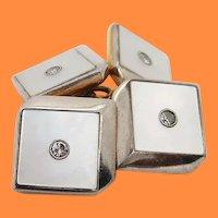 1915 English Art Deco Platinum over Gold Diamond Cube Cufflinks