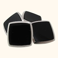 Antique Art Deco Two-Tone 14 Karat Gold Black Onyx Cufflinks