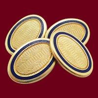 Edwardian Durand & Co. 14 Karat Yellow Gold Enamel Cufflinks