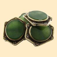 Arts & Crafts Engraved 14 Karat Gold and Jade Cufflinks