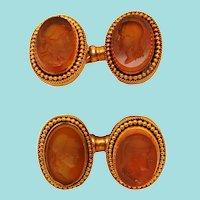 Victorian 18 Karat Yellow Gold and Carved Citrine Cufflinks