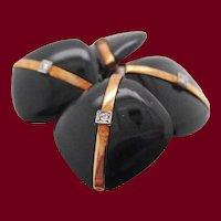 1925 Art Deco Rose Cut Diamonds Onyx 14 Karat Rose Gold Cufflinks