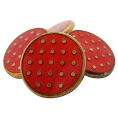 Vermeille Red Enamel Polka Dot Cufflinks