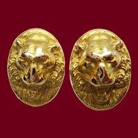Victorian 14K Yellow Gold Lion Face Cufflinks
