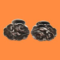 Art Nouveau Sterling Silver Unger Brothers Riding Waves Figural Cufflinks