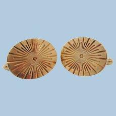 1950s Midcentury 10 Karat Yellow Gold Radial Sun Burst Cufflinks
