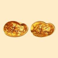 1890 Art Nouveau 14 Karat Yellow Gold Whiteside and Blank Smoking Man Cufflinks