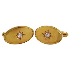 18 Karat Yellow Gold Star Set Oval Diamond Cufflinks