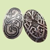1890 Art Nouveau Sterling Silver Unger Bro Owl Celtic Knot Cufflinks