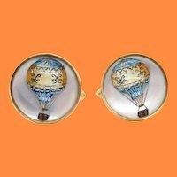 British 18 Karat Yellow Gold Montgolfier Hot Air Balloon Cufflinks