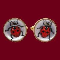 Brixton & Gill Reverse Carved Quartz Mother of Pearl 18K Gold Ladybug Cufflinks