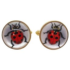 Brixton & Gill Reverse Carved Quartz Mother of Pearl 18K Gold Ladybug Cufflinks