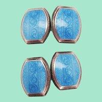 1925 Art Deco Sterling Silver Sky Blue Enamel Cufflinks