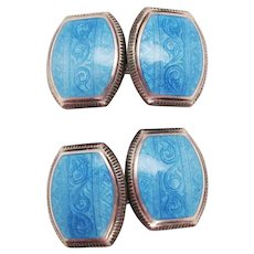 1925 Art Deco Sterling Silver Sky Blue Enamel Cufflinks