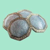 Art Deco Sterling Silver Gray Guilloche Enamel Cufflinks