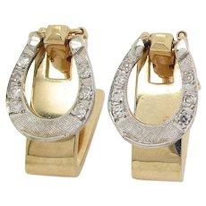 14 Karat Yellow and White Gold Diamond Horseshoe Cufflinks