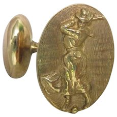 Victorian 14K Yellow Gold Lady Golfer Cufflinks