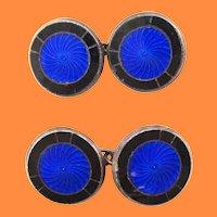 1925 Art Deco Sterling Silver Royal Blue Enamel Cufflinks