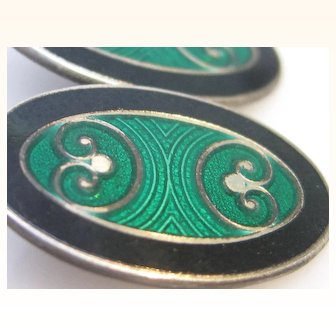 Art Deco Sterling Silver Enamel Cufflinks by Krementz