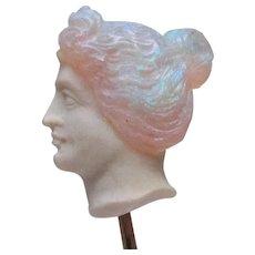 Art Nouveau Carved Opal Bust Rose Gold Stick Pin in Original Box