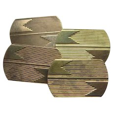 Art Deco Yellow Gold Engraved Cufflinks