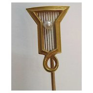 Art Deco 14K Gold Enamel and Pearl Stick Pin by Riker Bros.