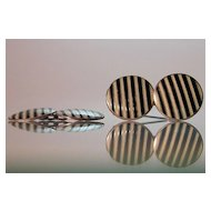 Sterling Enamel Guilloche Cufflinks Art Deco Stripes