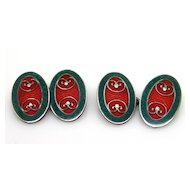 Sterling Silver Art Deco Enamel Guilloche Cufflinks Krementz Green Red