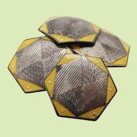 Art Deco Sterling Silver Hexagonal Yellow Enamel Cufflinks