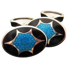 Deco Style Sterling Silver Black and Turquoise Swivel Bar Enamel Cufflinks