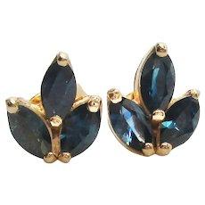 18 Karat Yellow Gold Blue Sapphire Stud Earrings
