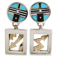 Robert Taylor II Sterling Silver 14 Karat Yellow Gold Navajo Dangle Earrings